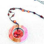 Boho - painted washer pendant necklace, beads, linen cord, brown, purple