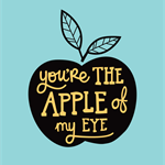 "A3 Print / Wall Art ""Apple Of My Eye Blue"". 297mm x 420mm, unframed."