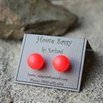 Large Neon Red Swarovski pearl, Sterling Silver, stud earring