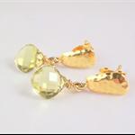 Yellow Topaz gemstone Vermeil Gold post/dangles earrings pastel gold