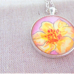 Yellow Hibiscus Flower - watercolour sketch - pendant necklace