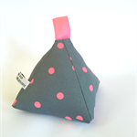 Doorstop pyramid style grey with pale pink spots door stop