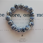 Hand Painted Blue Butterflies Porcelain Beaded Stretch Bracelet - Blue & White
