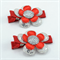 Flower Hair Clips - Red & Silver