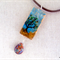 Windy Day - hand painted tree, country landscape - bamboo tile pendant necklace