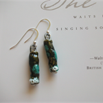 Handmade Porcelain Drop Earrings ~ Seaweed Green,Turquoise Blue & White