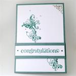Congratulations Card - Gum leaf green, butterfly