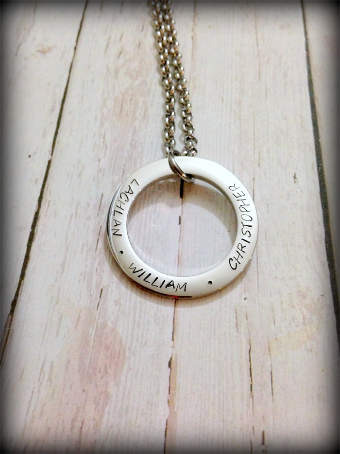 Personalised hand stamped family circle pendant necklace original personalised hand stamped family circle pendant necklace aloadofball Gallery