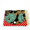 Find a Penny Purse - Blue Flowers on Black with polka dots.