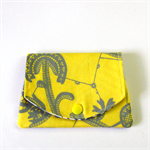 Find a Penny Purse - Grey Flower Vines on Bright Canary Yellow.