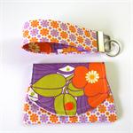 Find a Penny Purse & Key Fob Set - Purple and Orange Retro Flowers