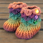 Crocodile Stitch Crochet Baby Booties Autumn 6-12 months