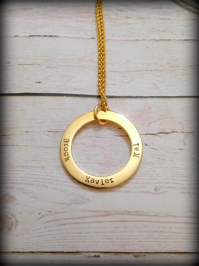 Gold personalised hand stamped family circle pendant necklace gold personalised hand stamped family circle pendant necklace aloadofball Image collections