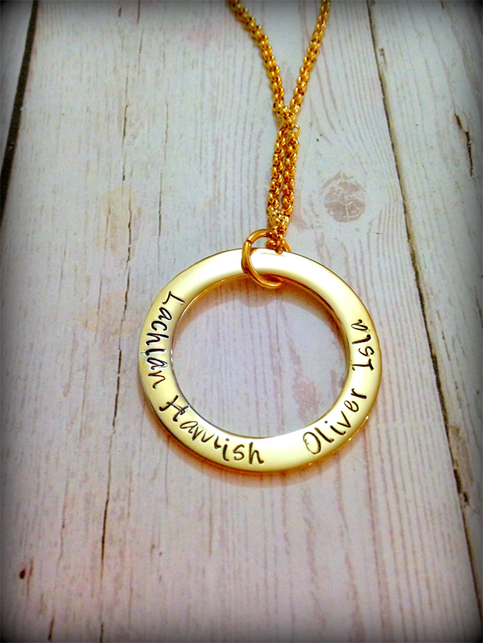 Gold personalised hand stamped family circle pendant necklace aloadofball Image collections