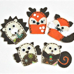 Woodland animals - set of 5 wool felt finger puppets