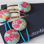 Hair ties/elastics snap clips Liberty of London covered button floral aqua pinks