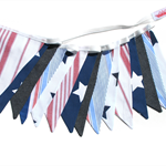 BOYS Denim Navy Blue, STARS & Stripes  Flag Bunting. Party, Banner Decoration
