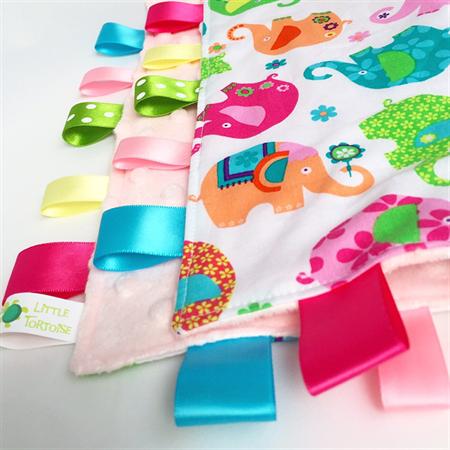ELEPHANT TOSS  ~ Baby  Security Blanket Blankie Taggie Toy + Free Taggie Saver