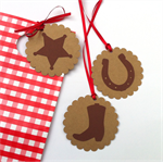 Cowboy cowgirl gift tags with ribbons. Wild West birthday party favors, gifts.