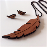 Tasmanian Myrtle Feather Pendant & Earring SET