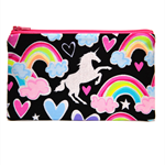 Glitter Unicorn and Rainbows Zip Pouch / Zippered Case / Zipper Bag / Purse