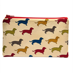 Dachshund Dogs on Cream Zip Pouch / Zippered Case / Zipper Bag / Purse