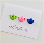 Kitchen tea sweet teapot buttons bright green pink blue special bride to be card