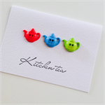 Kitchen tea bride to be sweet teapot buttons bright red, blue green card
