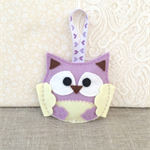 Lavender owl, sachet, felt, purple, soft lemon yellow, ornament, decoration
