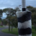 Handfelted Black & White Zebra Stripe Merino Wool Wine Cooler / Vessel
