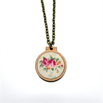 Mini Embroidery Hoop Necklace Shabby Chic