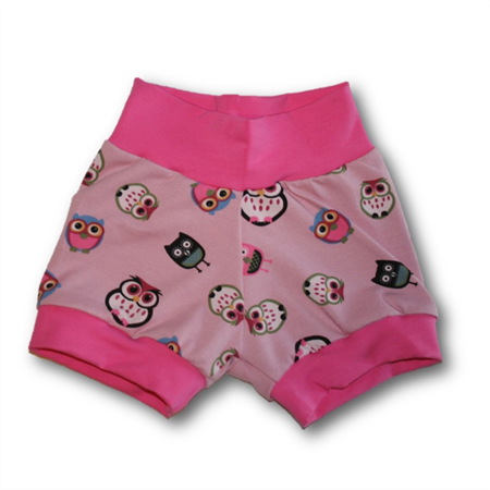 SIZE 0 Pink Owl Banded Baby Shorties