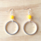 LARGE YELLOW RESIN COLOUR BASICS SIMPLE SILVER CIRCLE EARRINGS - FREE SHIPPING