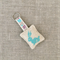 Rabbit, cross-stitched linen keyring, bag charm, light teal green, small gift