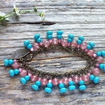 Turquoise & Peach Tourmaline Gemstone Wish Bracelet