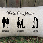 Special days silhouette pillow for the perfect gift for wedding or anniversary