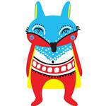 Primary Colour Fox, Modern Wall art, Kids Decor, Woodland Animal A4