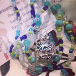 Blue and green glass bead and Turquoise Harmony Ball Necklace