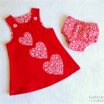 Red Corduroy Pinafore with Heart Appliques