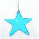 Unique Fused Glass Light Blue Star - Sun Catcher -Christmas Decoration