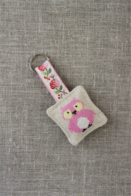 Owl, cross-stitched linen keyring, keychain, pale rose pink, small gift