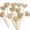 Glitter Love Heart Cupcake Pokes/Cake Toppers.Twelve. Gold Glitter/Wedding