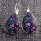 Blue & Pink Floral~ Teardrop Lever Back Earrings