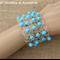 Turquoise Silver Crochet Wire Beaded Cuff Bracelet Handmade OOAK by Top Shelf