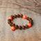 Swarovski Orange Neon pearls, Wood, Sterling Silver, stretch bracelet