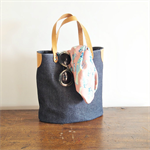 JEANS Tote Bag/ Blue Jeans with Tan Leather Details/ Simple tote/Shopping bag/