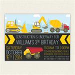Construction Digger Truck Birthday Invitation Printable