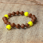 Swarovski Yellow Neon pearls, Wood, Sterling Silver, stretch bracelet