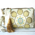 Clutch purse - wristlet - turquoise and gold design on cream fabric