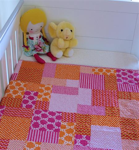 Baby Cot Quilt Handmade Baby Cot Quilt Orange Pink